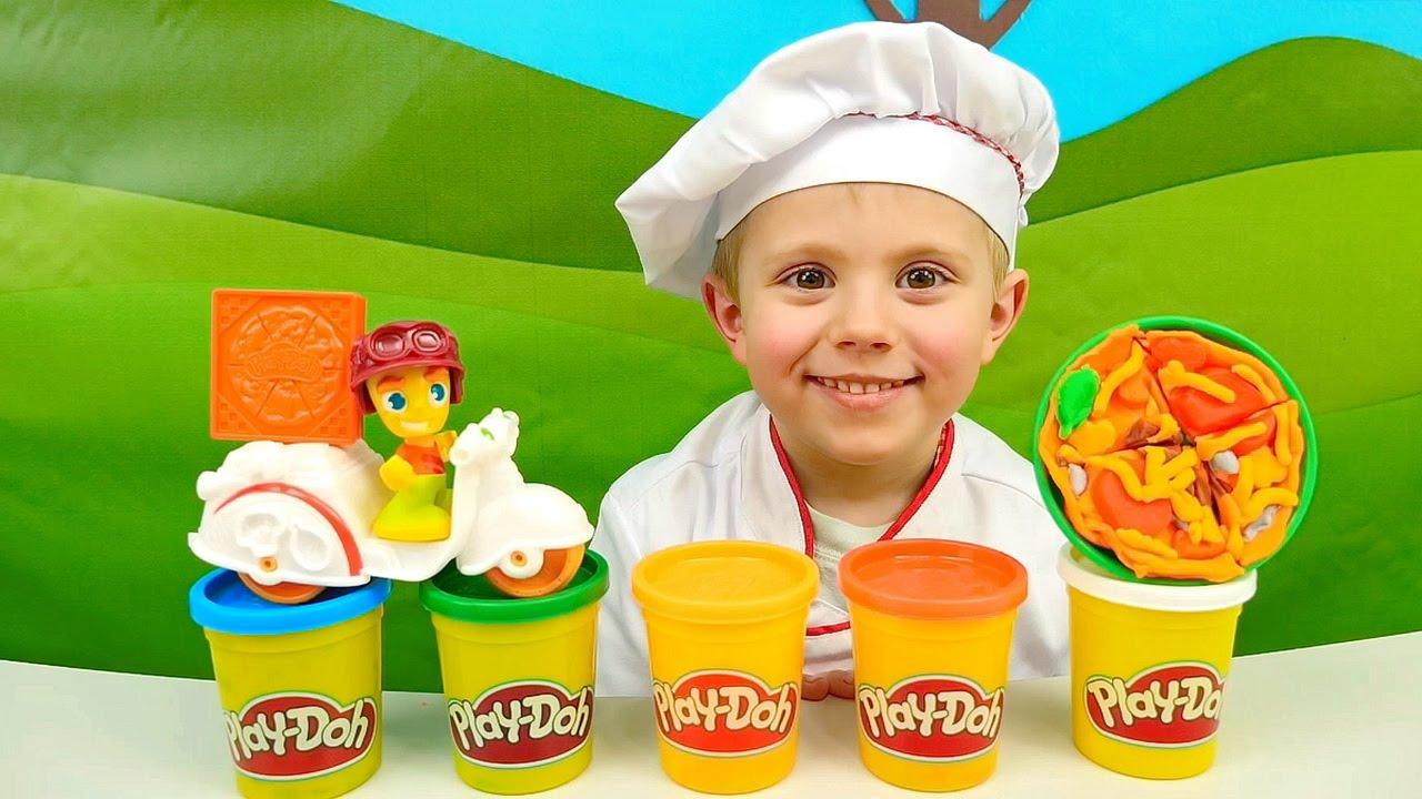 Повар Даник и Плей До пицца на Весёлой Кухне - Развивающее видео для детей  Play Doh Pizza