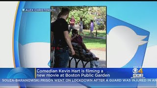 Comedian Kevin Hart Filming A New Movie At Boston Public Garden