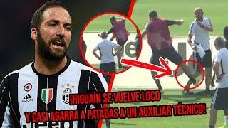¡Higuaín se vuelve loco en pleno entrenamiento y casi agarra a patadas a un auxiliar técnico!