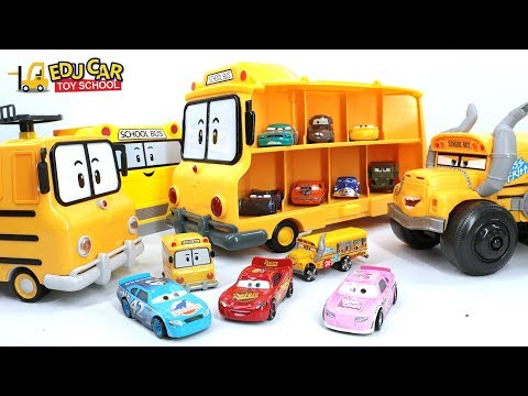 Learning Color Special Disney Pixar Cars Lightning McQueen school bus Mack Truck for kids car toys