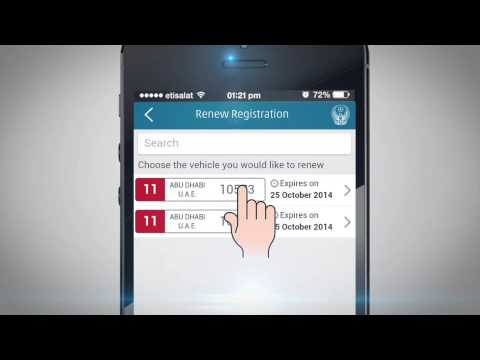 Renew vehicle registration via UAE-MOI App