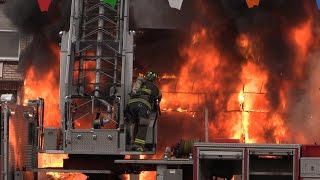MASSIVE FURNITURE STORE FIRE! 5th Alarm Fire NHRFR North Bergen, NJ
