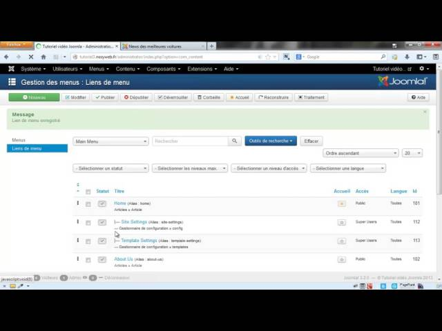 Joomla 3 - Optimisation SEO de base via l'administration