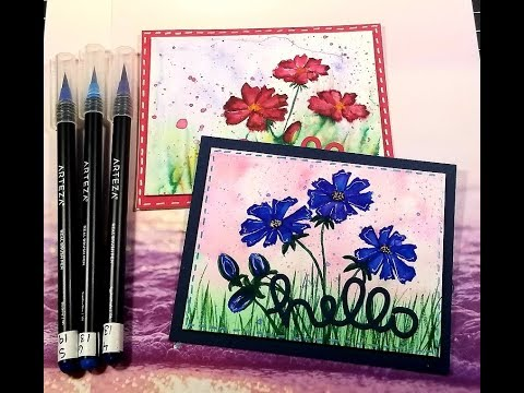 Easy Watercolor Freehand Floral Card / Arteza Real brush pens
