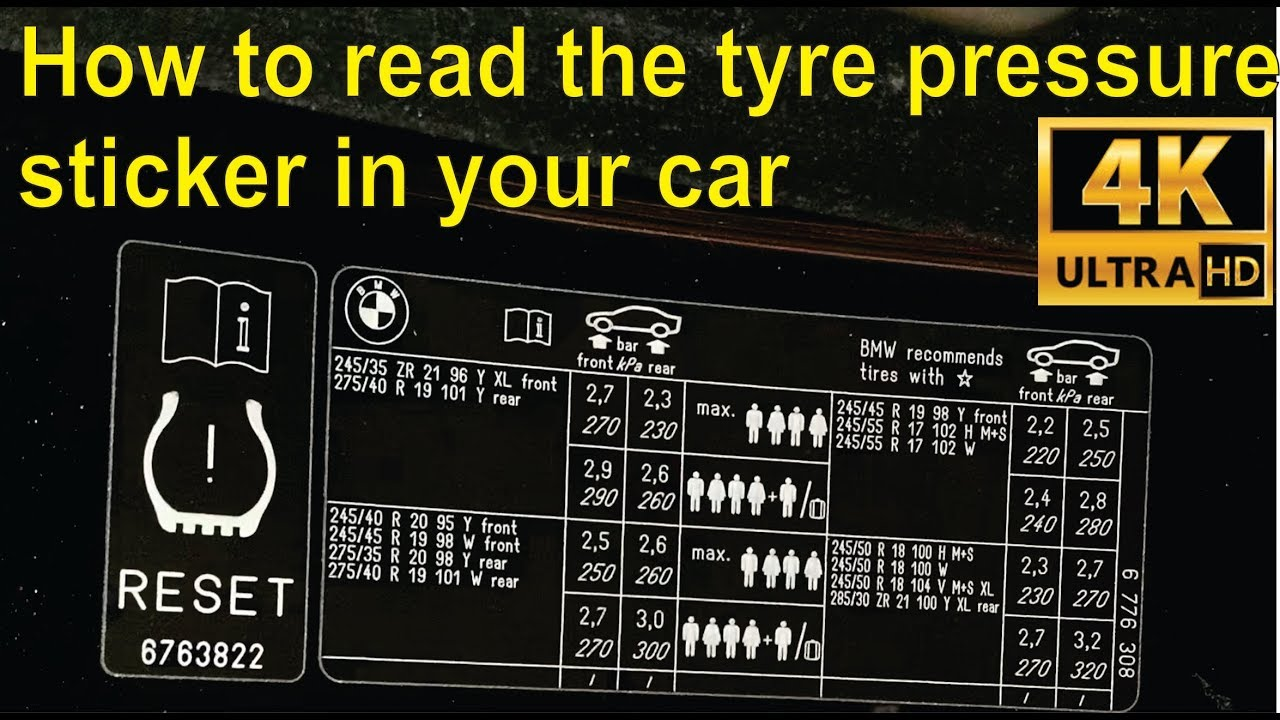 how to read the tyre pressure sticker in your car detailed youtube. Black Bedroom Furniture Sets. Home Design Ideas