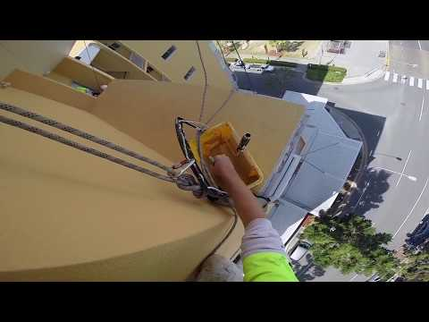 How To Paint A High-Rise Using Rope Access - Unbelievable skill.