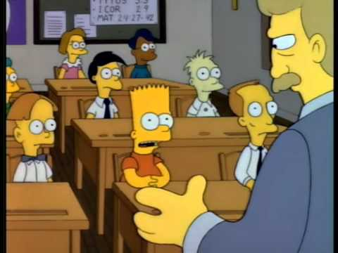 Bart Simpson chased by christian school religious mob
