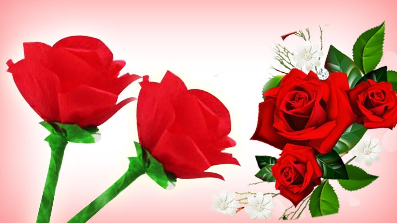 C mo hacer rosas de papel crepe f ciles manualidades de - Como hacer flores de papel ...