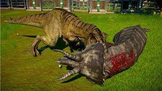 Tyrannosaurus Rex Vs Stegoceratops, Triceratops, Sinoceratops - Jurassic World Evolution