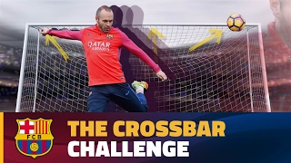 Andrés Iniesta takes the crossbar challenge