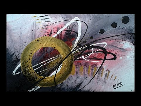 Abstract acrylic painting Demo Video - Original Art - Cosmos  by Roxer Vidal