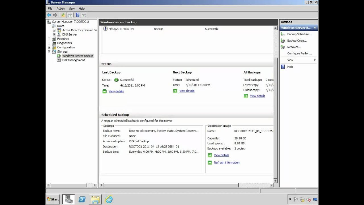 Image result for backup Windows 2008 Server