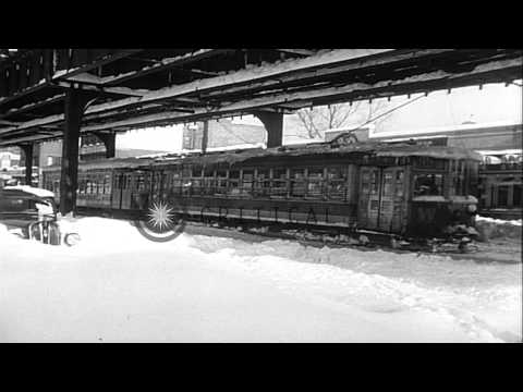 Blizzard of 1947: New York buried in record 26 inch snowstorm after 16 hours of h...HD Stock Footage