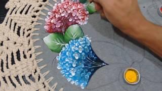 Roberto Ferreira – (Inédito) Pintura Hortênsias e Folhas tecido emborrachado Part 1