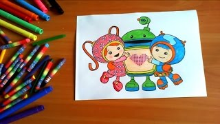 Team Umizoomi New Coloring Pages for Kids Colors Coloring colored markers felt pens pencils