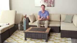 Marcella Wicker Sectional Set With Olympia Fire Pit Table - Product Review Video