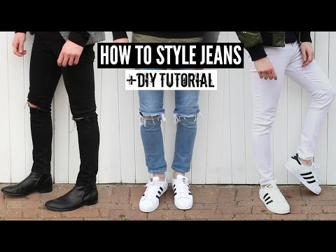 How To Style Jeans / Distressed Denim + DIY Tutorial - Mens Fashion 2016