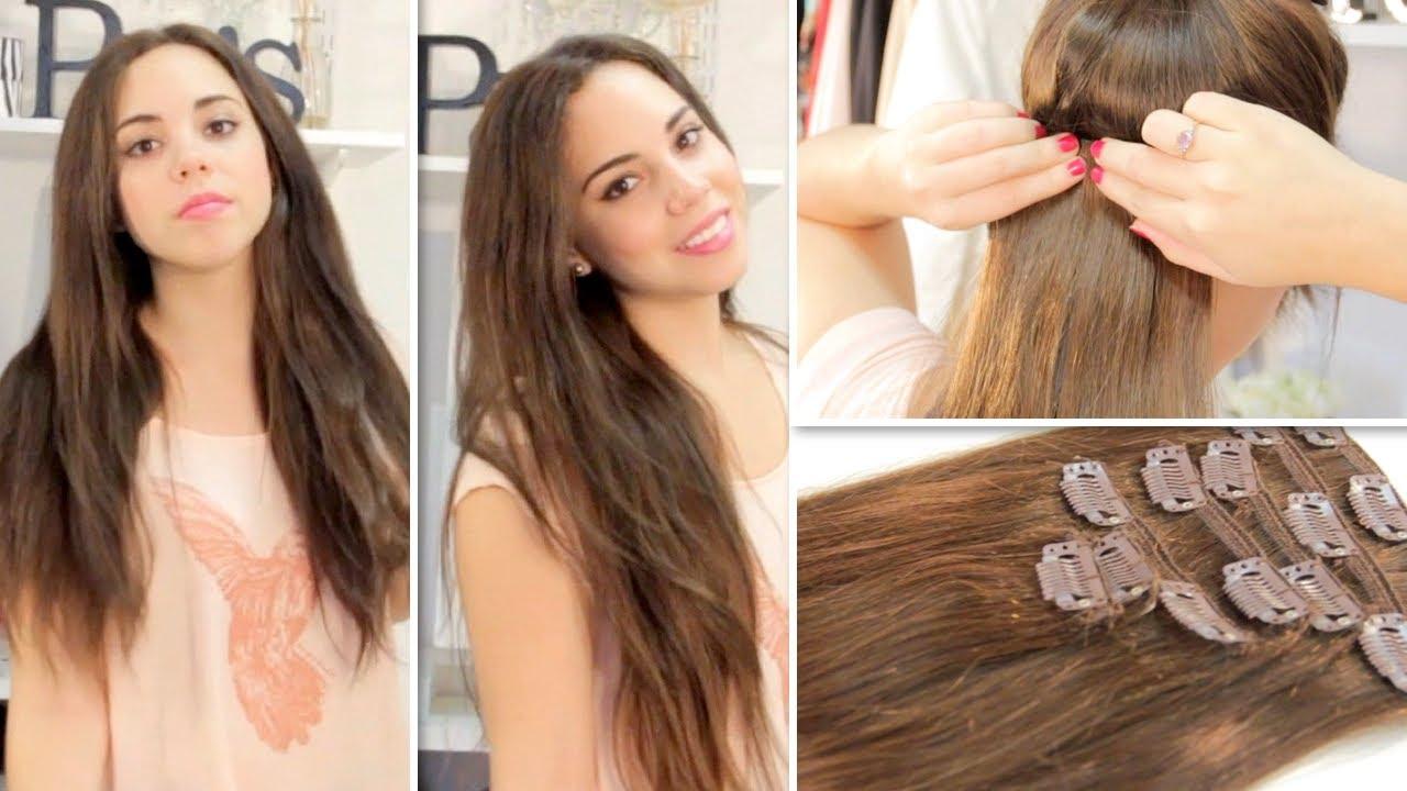 Colocar extensiones de clip en cabello corto