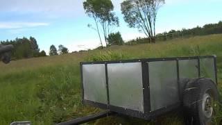 Quad 200 vs Przyczepa trawy. Wożenie trawy dla krów !!!