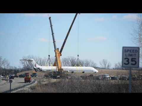 See charter jet moved after crash by cranes at Willow Run