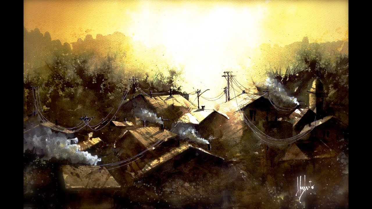 Old village in the sunrise