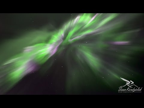 Real time video of aurora borealis corona