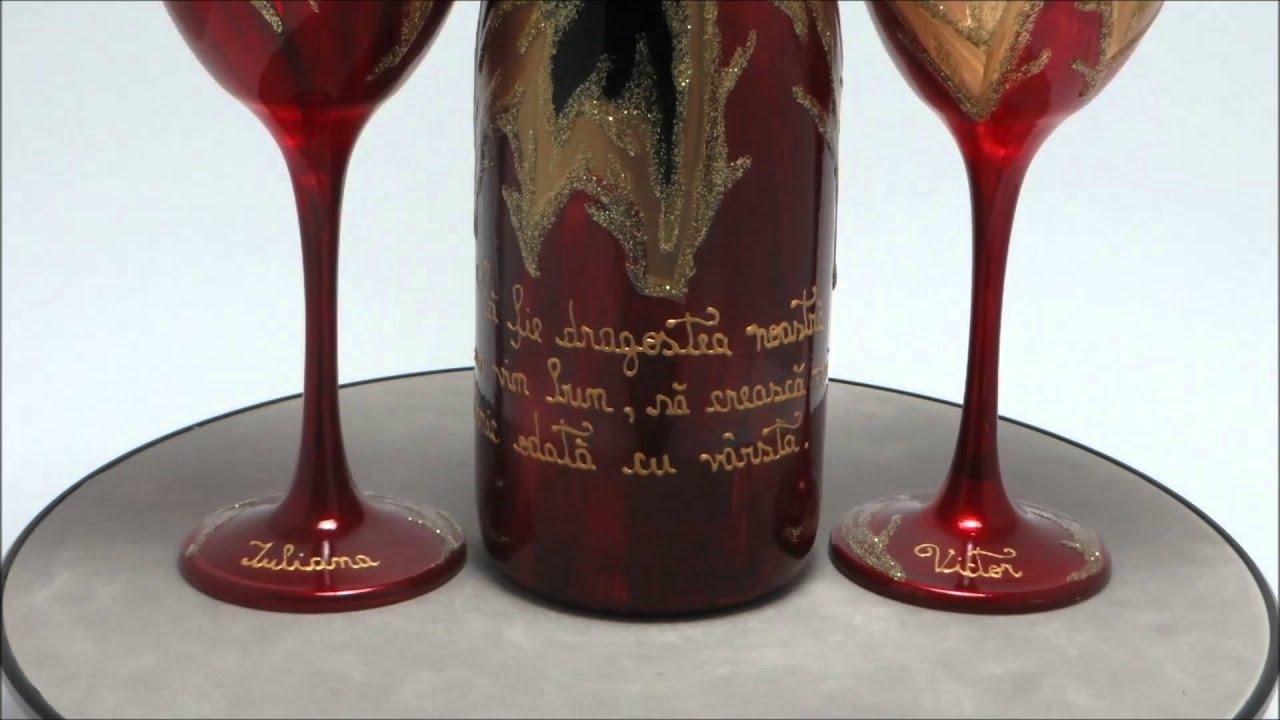 Pictura pe sticla de vin