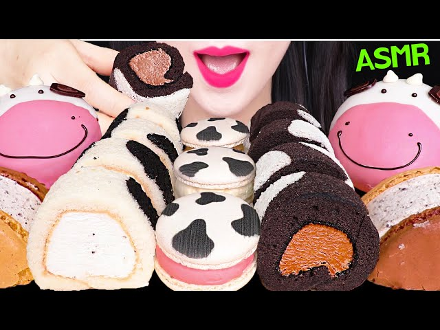 ASMR MILK COW FOOD *DONUTS, ROLL CAKE, MACARON ICE CREAM 얼룩 마카롱, 도넛, 아이스크림 먹방 EATING SOUNDS