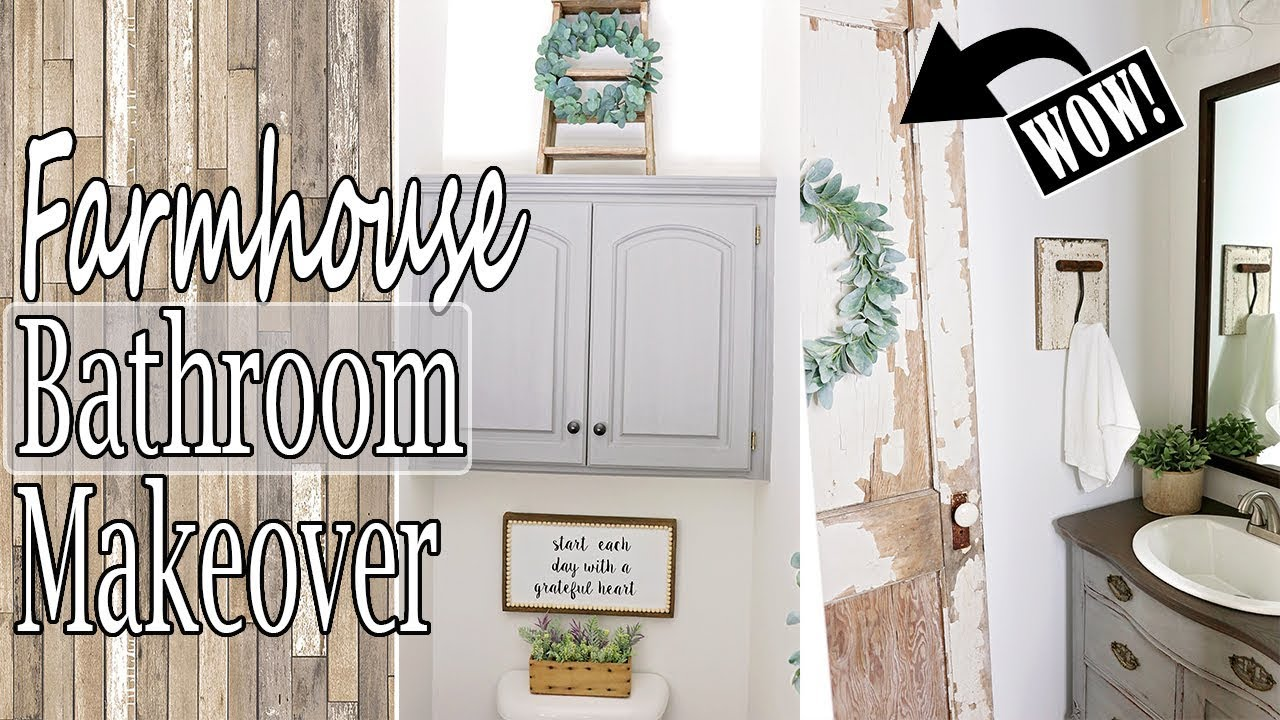 Diy Small Bathroom Remodel Farmhouse Bathroom Decor Youtube