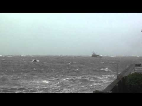 Youghal Harbour Pilot boat safely guides in freight ship Fingal Weds 15th Aug 2012 Part 2