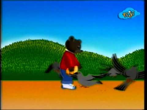 Бурый медвежонок и голуби