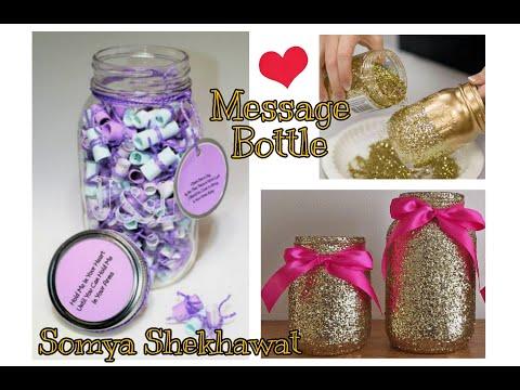 Message Bottle with glitter lightning | Love Handmade Art | Handmade gift | Somya Shekhawat