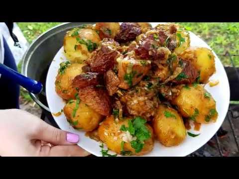 Знать бы Раньше Готовила бы Чаще! Картошка в Казане с Мясом. Готовим на Природе