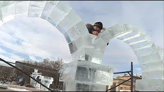 На центральной площади появились первые ледяные фигуры