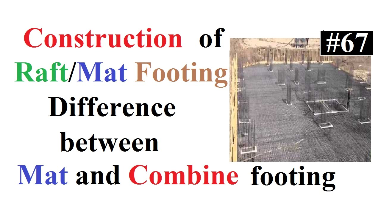 Construction of raft/mat footing at site and Difference b/w mat and combine  footing in Urdu/Hindi