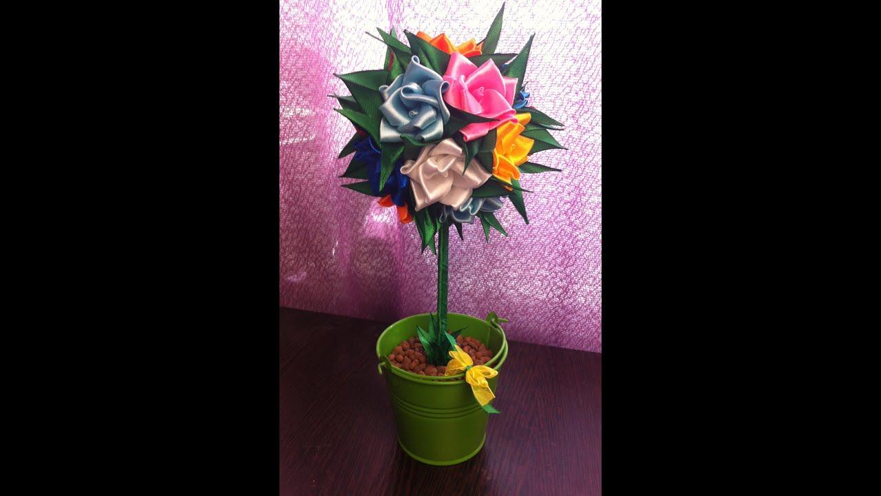 фото канзаши топиарий цветов из