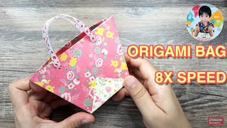 ORIGAMI GIFT BAG Time-lapse   Let's fun with this easy #paperfolding   พับถุงกระดาษน่ารักๆ