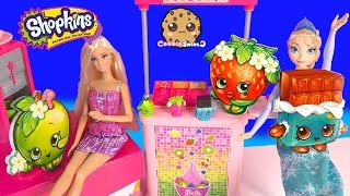 Shopkins Giant Scented Erasers Opening Play Video With Barbie & Disney Frozen Queen Elsa Dolls