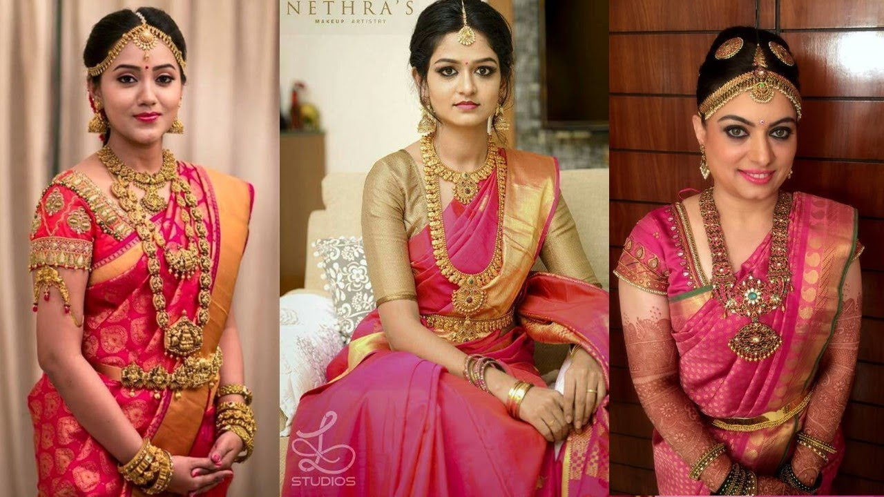 Pink South Indian Kanchipuram Silk Wedding Saree Designs 2018