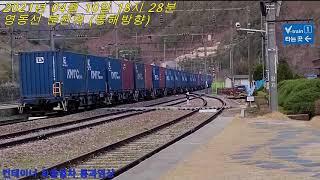 영동선 분천역 컨테이너 화물열차 통과영상
