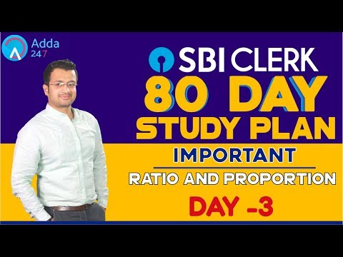 SBI CLERK PRE 80 Day Study Plan - Ratio and Proportion By Sumit Sir  - Day -3