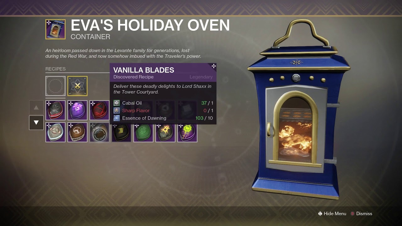 Destiny 2 The Dawning How To Masterwork Eva S Holiday Oven All Recipes Ingredients Youtube