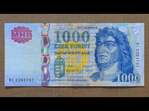1000 Hungarian Forint Banknote (Thousand Forint Hungary: 2015) Obverse & Reverse