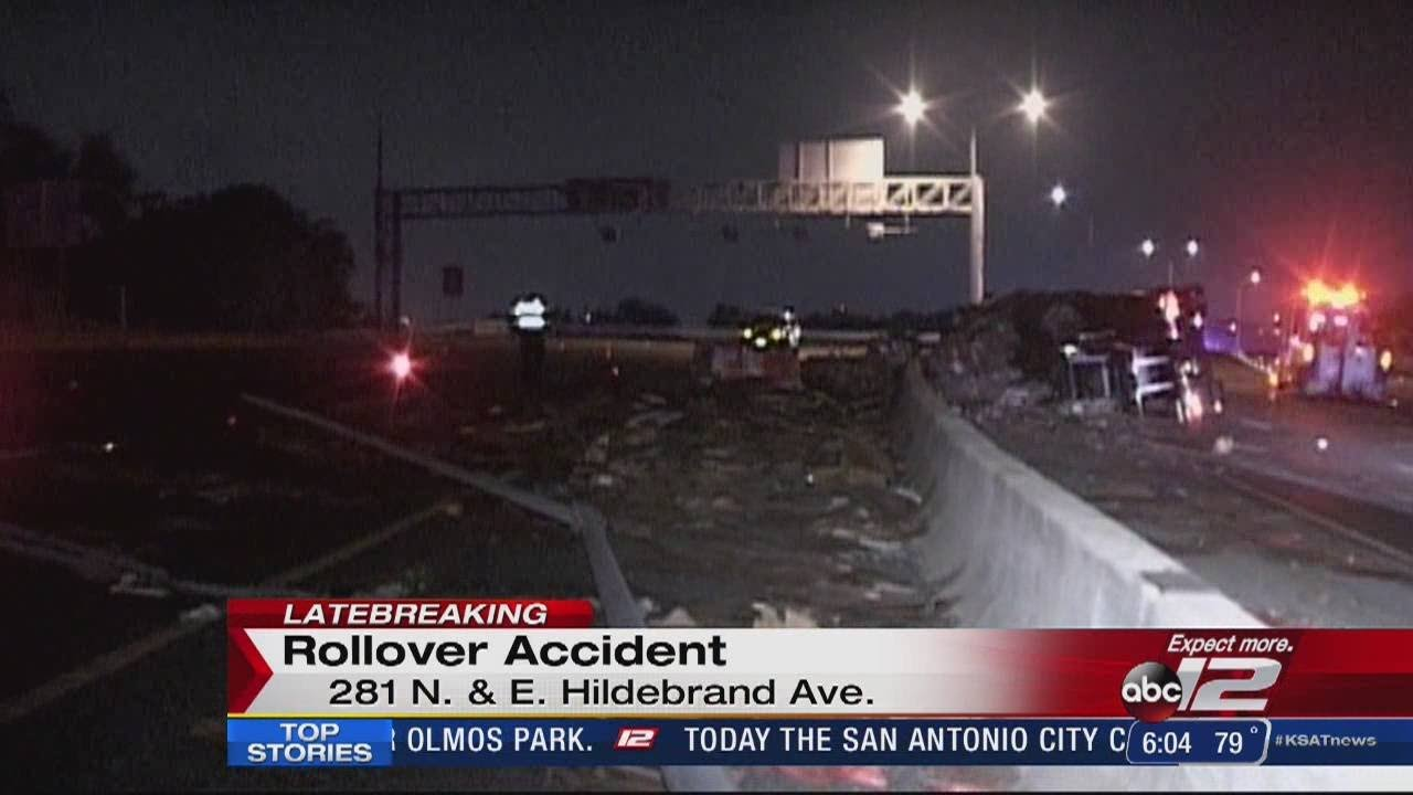 18-wheeler rollover shuts down Highway 281 South at Hildebrand