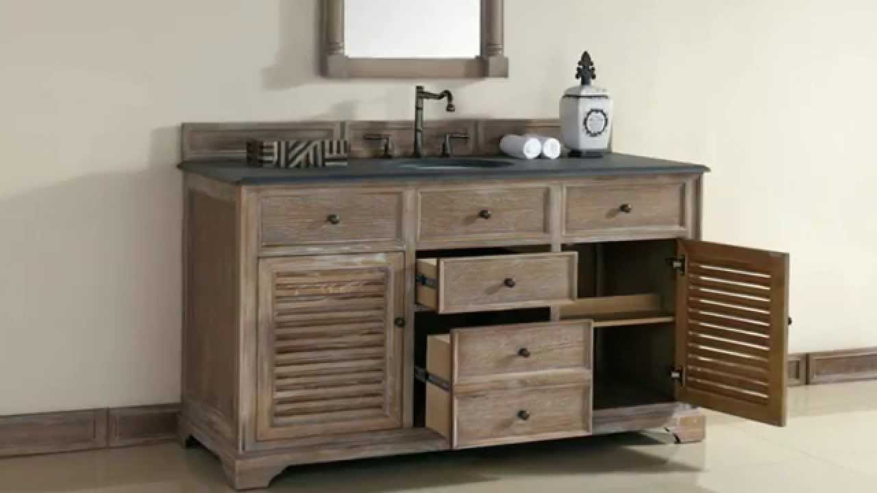 New james martin 60 single savannah bathroom vanities in solid wood from youtube for Unfinished wood bathroom cabinets