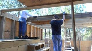 "Off Grid Cabin Build!  Second Floor 3/4"" Plywood Going In..march 2015"