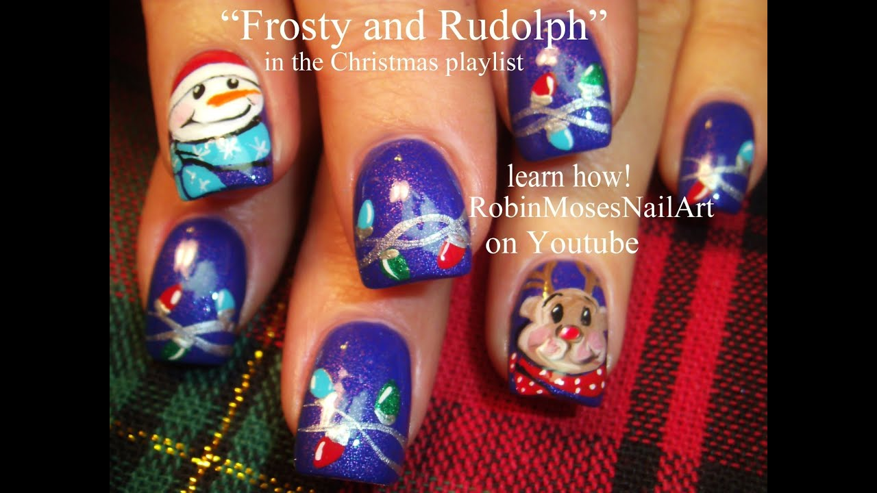 Diy christmas nails frosty rudolph lights on blue xmas diy christmas nails frosty rudolph lights on blue xmas nail art design youtube prinsesfo Choice Image