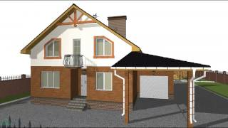 видео Проект и план дома с мансардой и гаражом