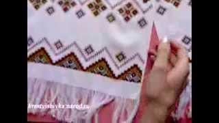Рушник геометрический орнамент ручная вышивка крестом Рушник геометричний орнамент