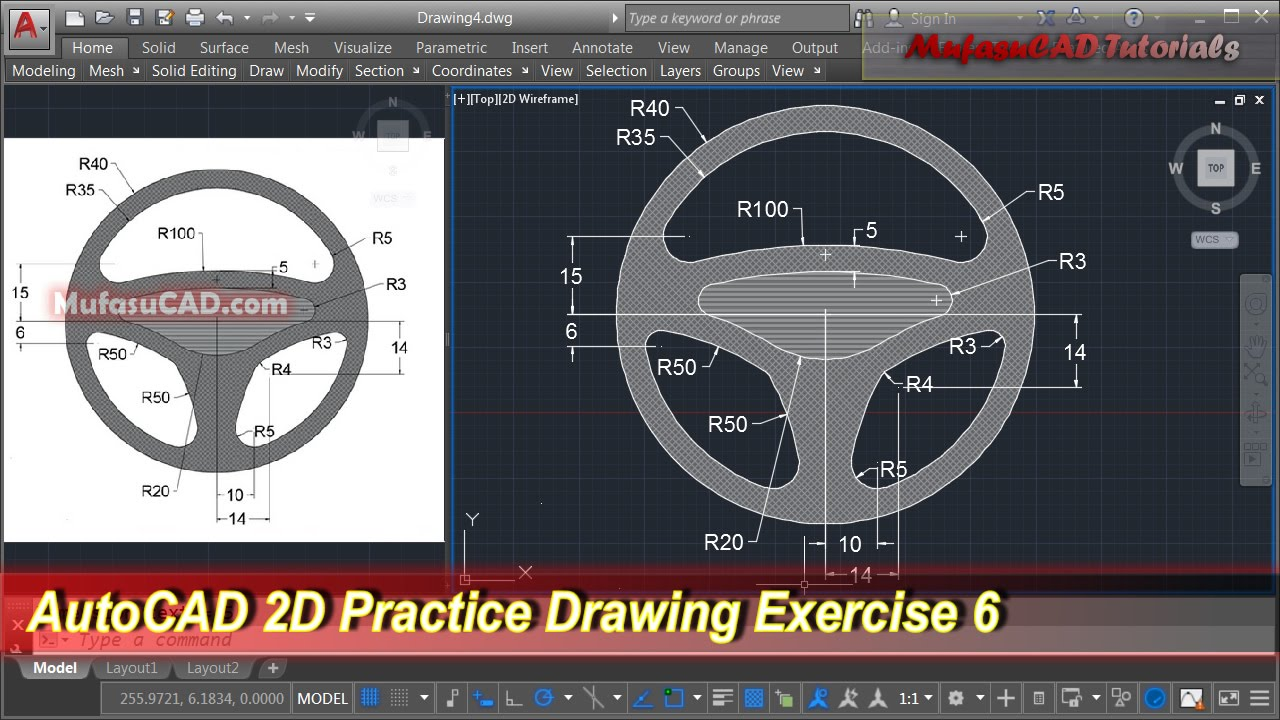 AutoCAD 2D Practice Drawing | Exercise 6 | Basic Tutorial ...
